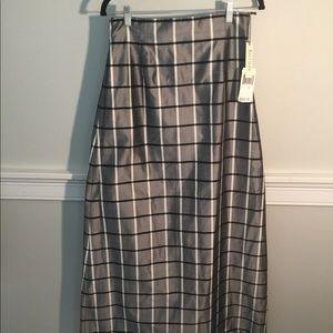NWT Kay Unger Full Length Raw Silk Skirt